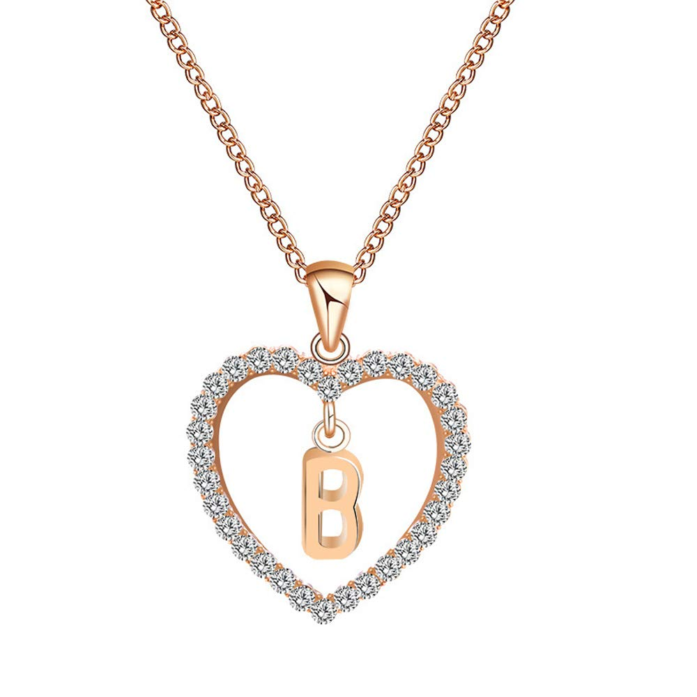 Everrich 14K Rose Gold Plated Crystal Heart Shape Initial Alphabet Pendant Necklace with 26 Initial Alphabet Letters for Women ER300173-Rose Gold-01