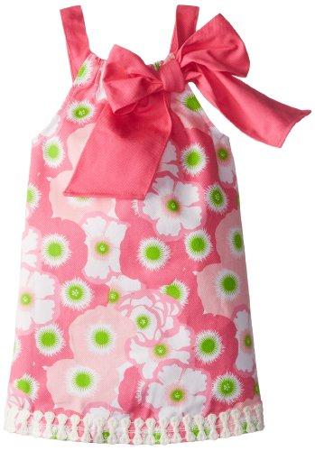 Mud Pie Little Girls' Lilly Pad Dress, Pink/Green, 4T
