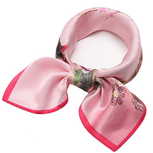 carf Square Hair Scarves Fashion Bird Neck Scarfs for Women Pink 20