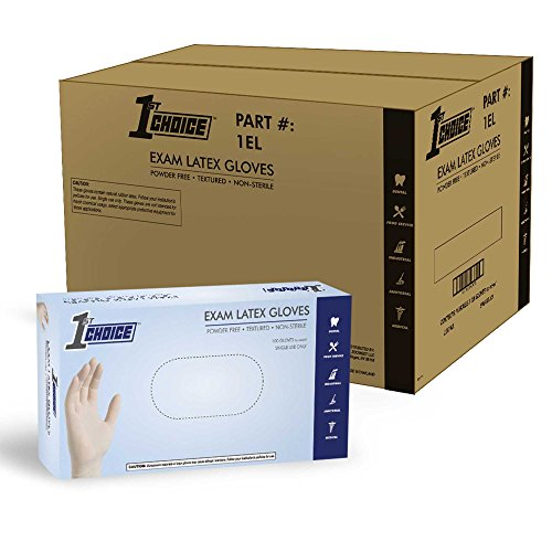 1st Choice Ivory Latex 4 Mil Thick Disposable Gloves, Case of 1000 - Medical/Exam Grade, Powder-Free by 1st Choice
