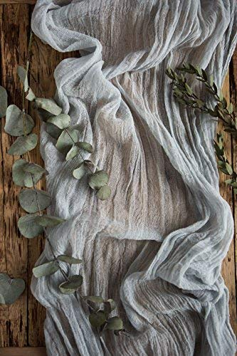 (Light grey Rustic wedding Gauze table runner 27'' x 15ft, Cheesecloth table runners, Boho wedding centerpiece, Rustic table party decor, Gauze)