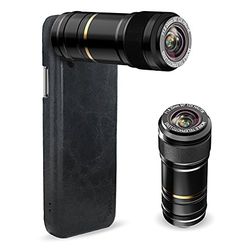 Vorida Cell Phone Telephoto Lens, 12X Telephoto Lens + PU Leather Phone Case Hard Back Cover, Compatible for iPhone x Black