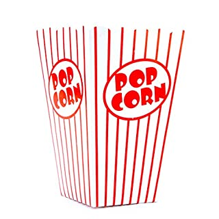 Bekith 100 Pack Paper Open-Top Popcorn Box, Popcorn Containers Striped Red and White, Great for Movie Theater Carnival Party
