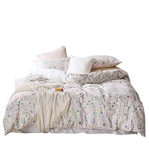 Floral Blossom Duvet Cover Full Queen Cotton White Bedding Collections Yellow Red Little Flower Pattern for Girls Women