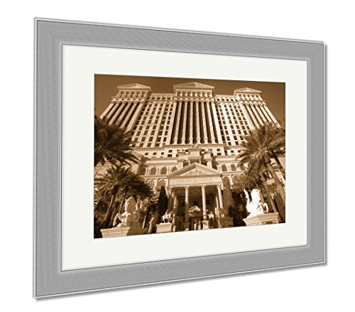 Ashley Framed Prints Las Vegas Feb 3 Caesar Palace Hotel Temple Pool In Las Vegas, Contemporary Decoration, Sepia, 26x30 (frame size), Silver Frame, - Vegas Las Palace Shops Caesars