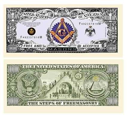 American Art Classics Freemason Masonic Million Dollar Bill - Pack of 10 -  Limited Edition Collectible Novelty Dollar Bills - Best Gift Or Keepsake