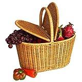 Aidou Natural Plant Vine Pure Hand Weaving Environmental Protection Creative Picnic Basket Hand Basket Rattan Collection Basket Storage Basket Hamper for Bathroom Storage (Size : Medium)