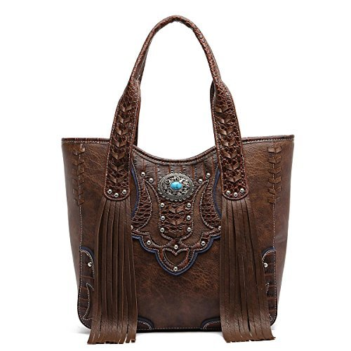 Western Handbag - Classic Concho Embossed Concealed Carry Tote Bag with Fringe ()