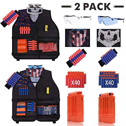 [2 Pack 2019 Newest] DoitY Kids Tactical Vest Kit for Nerf Guns N-Strike Elite Series with Refill Darts, Dart Pouch, Reload Clips, Tactical Mask, Wrist Band and Protective Glasses for Boys Toy Gun War (Best Gun For Home Protection 2019)