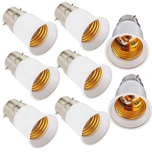 8-Pack B22 to E27 E26 Light Socket Adapter Converter Base for LED Light Bulb Lamp holder,B22 to E26 Medium Screw Light Holder Light Bulb Socket Maximum Wattage 250W