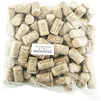 100 Corks in a Bag- Made in Portugal (38 x 22 #8 Short, Agglomerated Deluxe)
