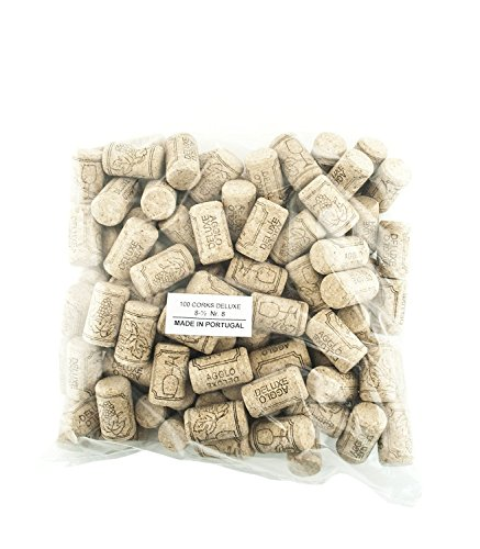 Deluxe Bottle Stopper (100 Corks in a Bag- Made in Portugal (38 x 22 #8 Short, Agglomerated Deluxe))