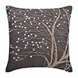 "Designer Brown Pillow Shams, Jute & Mother Of Pearls Tree Botanical Pillow Shams, 24""x24"" Pillow Shams, Square Cotton Linen Shams, Contemporary Pillow Shams - Nature Trail"