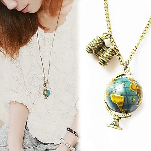 Aland-Women's Vintage Globe Planet Earth World Map Ball Binocle Pendant Long Necklace