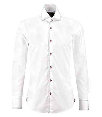 274a417f6bfc HAWES & CURTIS Mens Casual White Slim Fit Shirt with Union Jack Buttons - Single  Cuff