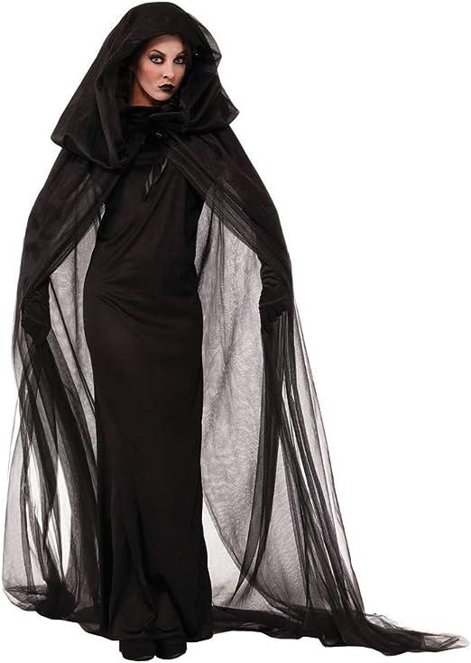 RENJIANFENG Disfraz De Bruja Fantasma Negra La Mujer Disfraz ...