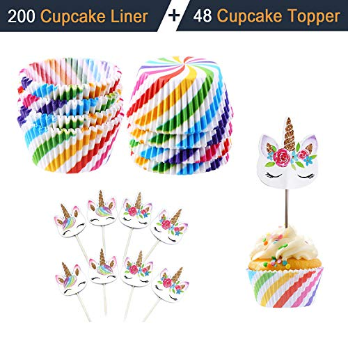 Unicorn Cupcake Topper Pack of 48 + Disposable Cupcake Liner Muffin Paper Cup Pack of 200 for Birthday Wedding Baby Shower