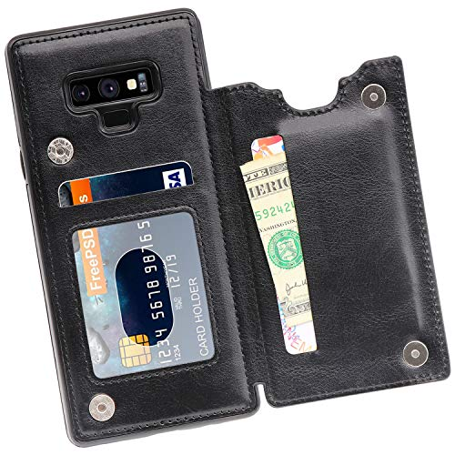 MMHUO Galaxy Note 9 Wallet Case, PU Leather Galaxy Note 9 Case with Credit Card Holders Double Magnetic Buttons Flip Shockproof Protective Cover Compatible Samsung Galaxy Note 9 (2018) - Black