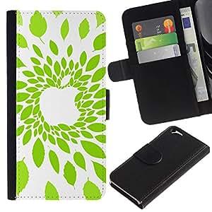 All Phone Most Case / Oferta Especial Cáscara Funda de cuero Monedero Cubierta de proteccion Caso / Wallet Case for Apple Iphone 6 // Apple Leaf Green Nature
