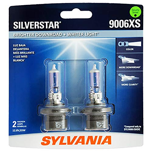 SYLVANIA - 9006XS SilverStar - High Performance Halogen Headlight Bulb, High Beam, Low Beam and Fog Replacement Bulb, Brighter Downroad with Whiter Light (Contains 2 Bulbs)