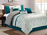 7-Pc Moani Island Breeze Floral Scroll Pleated Embroidery Comforter Set Teal Green Blue Gray Off-White Queen