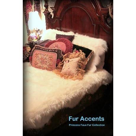 Fur Accents Snow Princess Faux Fur Bedspread Coverlet Soft Faux Fur Scalloped Edges Throw Blanket 90 X 90