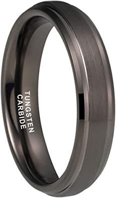 Hammered Wedding Band Black Ring Mens Wedding Band 6mm Engagement Ring Tungsten Carbide Man Wedding Band Anniversary Polished Stepped Edges
