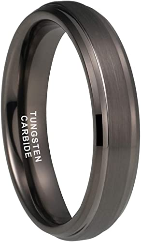 Personalized Ring Tungsten Wedding Band Set 4MM 6MM 8MM Rose Gold Tone Ring Flat Brushed Tungsten Ring For Couples JDTR785-786-787-OPT