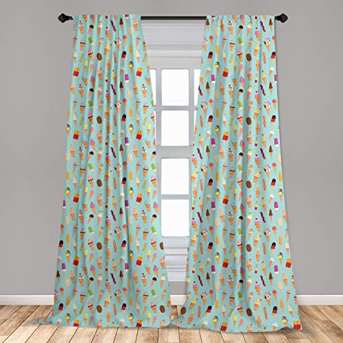 """Ambesonne Ice Cream Window Curtains, Mix of Yummy Dessert with Chocolate and Fruit Flavor Toppings Cones Illustration, Lightweight Decorative Panels Set of 2 with Rod Pocket, 56"""" x 84"""", Pale Blue"""