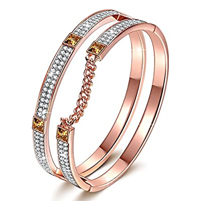 "J.NINA ""London Impression"" Rose-Gold Plated Modern Bracelet with Clear Swarovski Crystals, Dimensional Chain Design Women Bangle Jewelry"