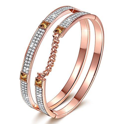 "J.NINA ""London Impression"" Rose-Gold Plated Bracelet with Swarovski Crystals, Dimensional Chain Bangle J.NINA"