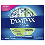 Tampax Pearl Tampons with Plastic Applicator, Super Absorbency, Unscented, 50 Count