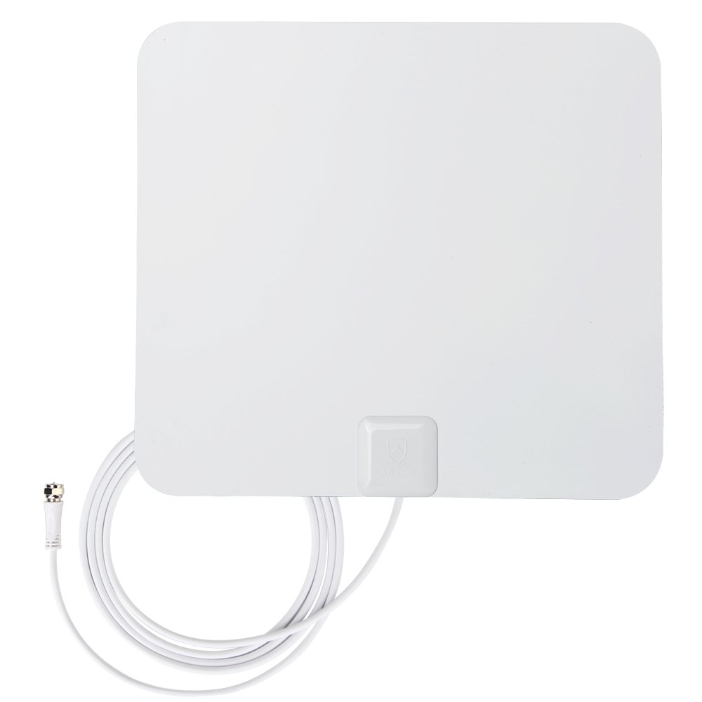Antop 99142ANTOP Paper Thin High Gain Indoor TV Antenna- 40 Mile Long Range 360 Degree Reception for OTA High Definition Televisions/4K UHD TVs -Reversible White and Black-10ft Coaxial Cable