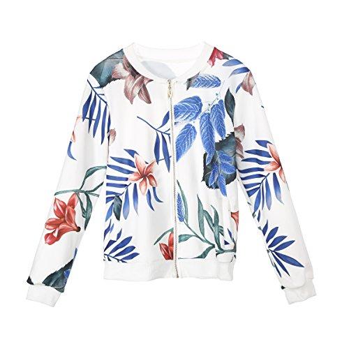Loralie Manteau Veste Blouson Femme  Fleur Printemps Manches Longues Zipp Jacket de Sport Blanc