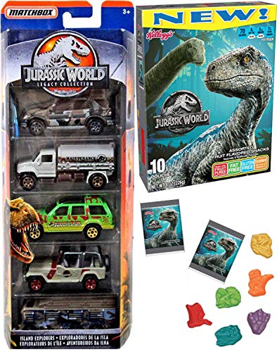(Snack Attack Dino Trucks Jurassic World Collection Matchbox Cars Island Explorers Tanker / Park Explorer Legacy / Jeep & Fruit Shaped Bite Size Fun 2 Items)