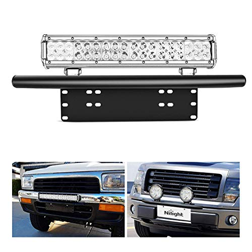 Nilight Led Light Bar Mounting Bracket Front License Plate Frame  Bracket License Plate Mounting Bracket Holder for Off-Road Lights LED Work Lamps Lighting Bars,2 Years -