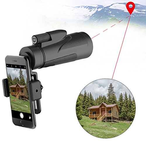 High Power Prism Monocular Telescope Scope with Smartphone Adapter&Tripod- Waterproof Low Night Vision BAK4 Prism FMC for Bird Watching Hunting Camping Travelling Wildlife Secenery