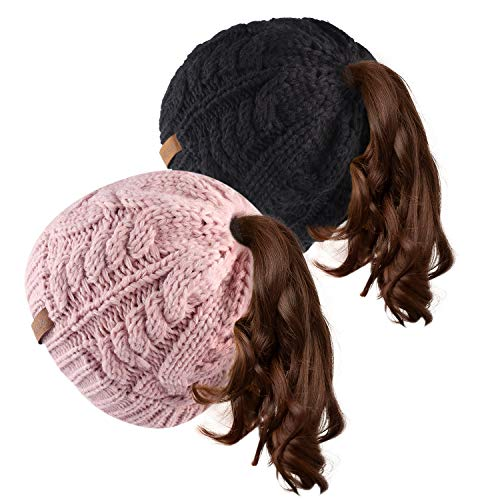 Women Hat Knit Skull Beanie Winter Outdoor Runner Messy Bun Ponytail Cap (One Size, Black/Mix Pink) (The Right Hairstyle For Your Face Shape)