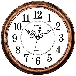 Adalene 13 Inch Large Non Ticking Silent Wall Clock Decorative, Battery Operated Quartz Analog Quiet Wall Clock, For Living Room, Kitchen, Bedroom