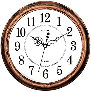 Adalene 13 Inch Large Non Ticking Silent Wall Clock Decorative, Battery  Operated Quartz Analog Quiet