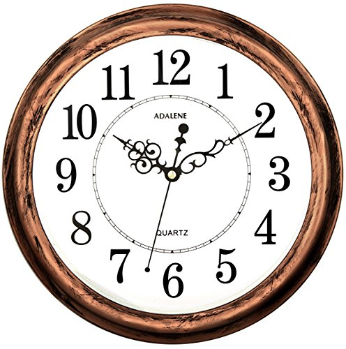 Adalene 13 Inch Large Non Ticking Silent Wall Clock Decorative, Battery Operated Quartz Analog Quiet Wall Clock, for Living Room, Kitchen, Bedroom ()