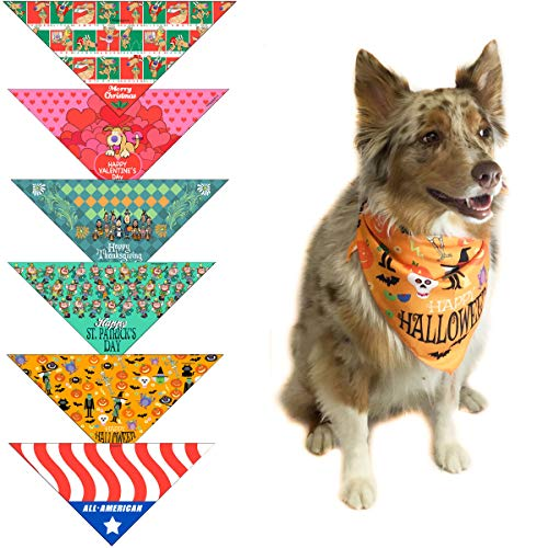 Stonehouse Collection 6 pc Holiday Dog Bandana Med