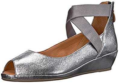 Gentle Souls by Kenneth Cole Women's LISA LOW WEDGE PEEP TOE ELASTIC STRAP Shoe, Anthracite, 5.5 M US