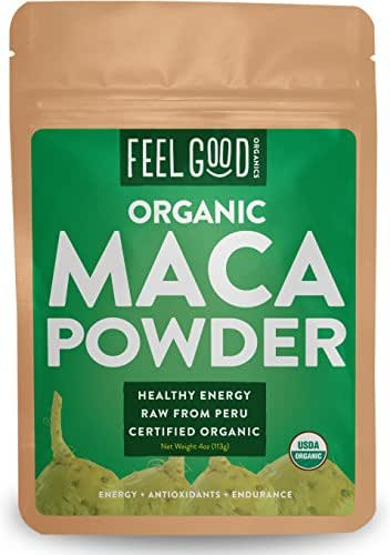 Organic Peruvian Maca Root Powder - Perfect for Smoothies, Baking, Energy - Raw From Peru - Non-GMO, USDA Organic - 4oz Resealable Bag - by Feel Good Organics