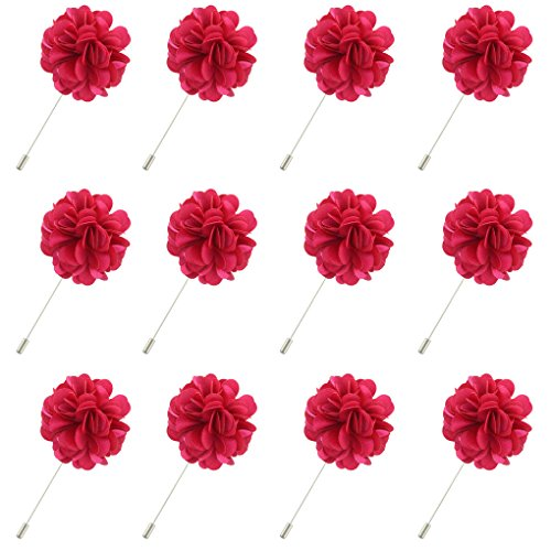 FM FM42 Men's Rose Shiny Lapel Flower Handmade Boutonniere Pin for Suit Begonia (Pack of 12)