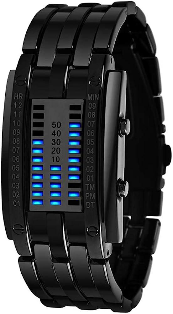 TONSHEN Binario Relojes de Hombre Deportivos Acero Inoxidable Bisel Y Correa Moda Relojes de Pulsera Calendario El Unico Diseño Simple Digitales LED Azul Luz Cool Relojes Negro