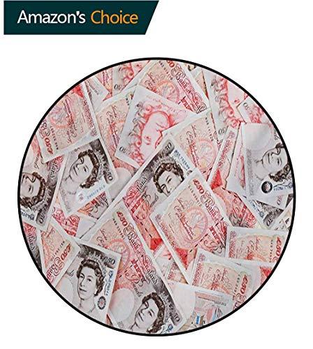 3' Round Bullseye - RUGSMAT Money Modern Machine Round Bath Mat,Bullseye Notes with A Portrait of Queen of England Paper Bills of Great Britain Non-Slip No-Shedding Kitchen Soft Floor Mat,Round-55 Inch