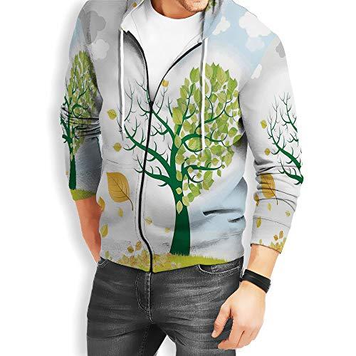 Coaballa Men's Tree of Life Long Sleeve Full-Zip Bomber Jacket Hooded Varsity Jacket