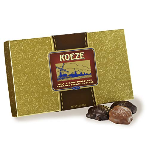 Koeze Handcrafted Milk and Dark Chocolate Pecan Turtles - 8 oz. Gift Box - Perfect for holidays, celebrations and foodie gifts! (Chocolate Koeze)