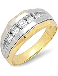 1.25 Carat (ctw) 14K Two Tone Gold Round Diamond Channel Men's 5 Stone Wedding Anniversary Ring 1 1/4 CT